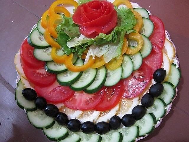 Украшение на салаты своими руками из овощей