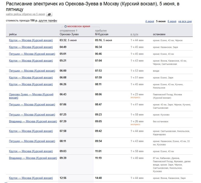 расписание электричек от курского вокзала до электрогорска