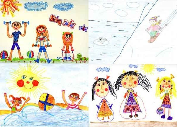 детские рисунки по теме облака