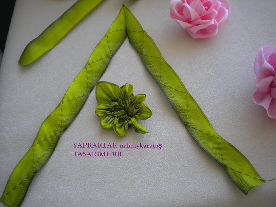 Как сделать из ленты листьями