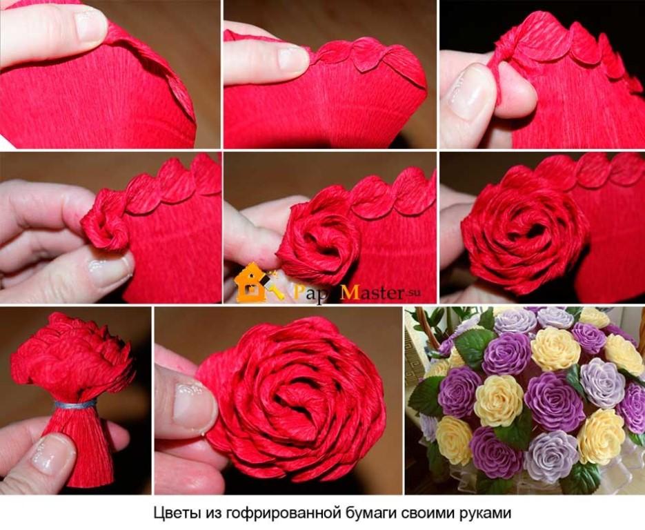 Цветы своими руками из гофрированной бумаги. роза