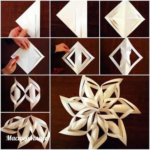 Снежинки на украшения из бумаги своими руками