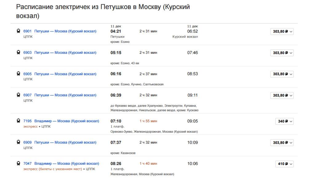 Всегда актуальное расписание ржд электричек (пригородных поездов) по москве и московской области.