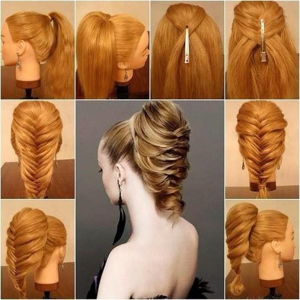 Собрать волосы в нетугой хвост с помощью резинки.
