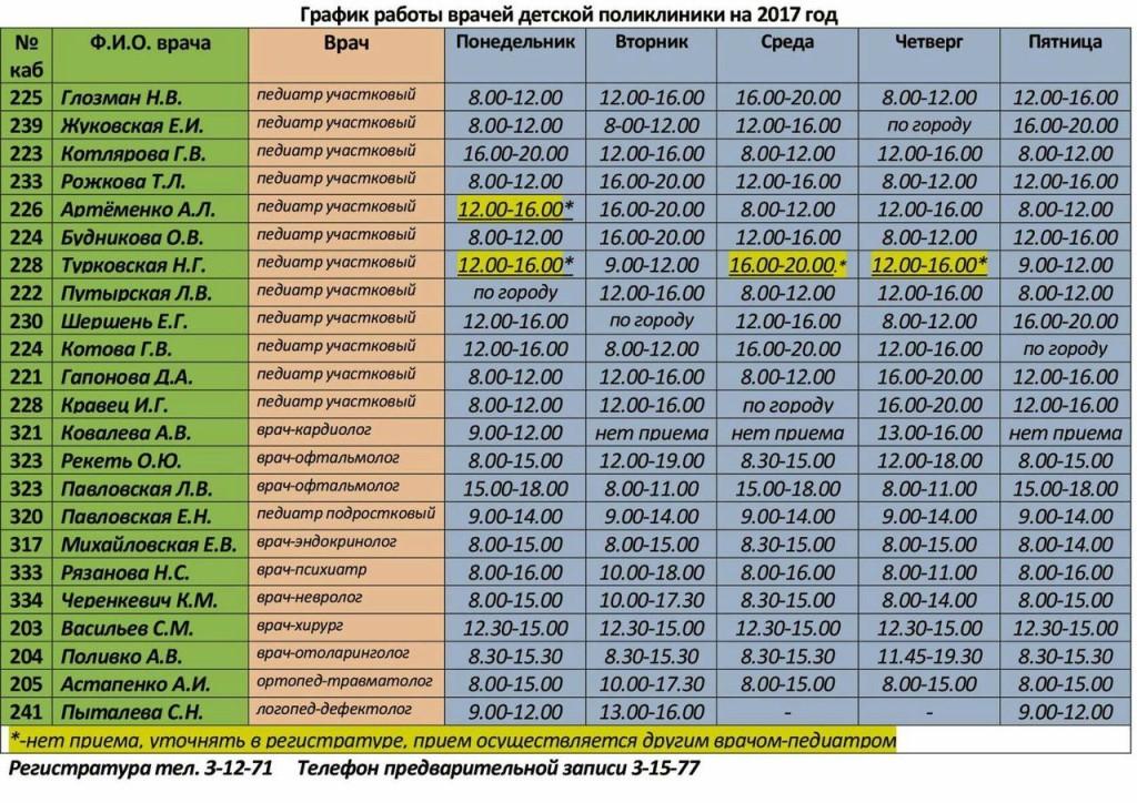 график работы врачей красноярск